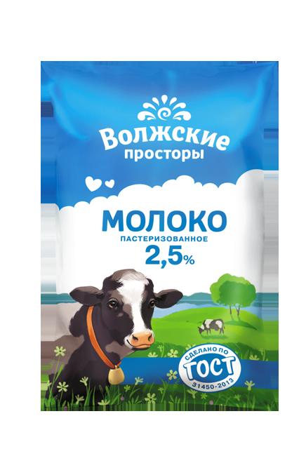 Молоко пастеризованное 2,5%, 900 г